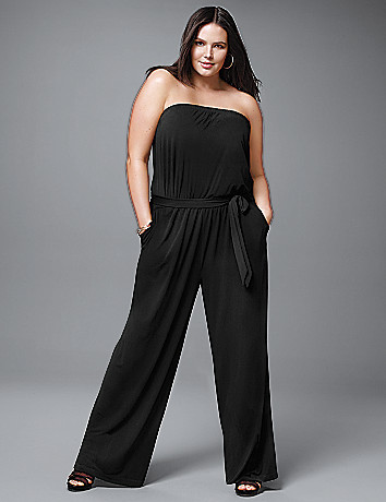 Strapless knit jumpsuit