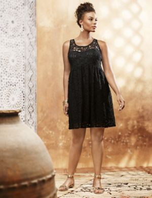Sleeveless lace illusion dress