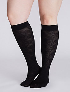 Lace & solid trouser socks 2-pack