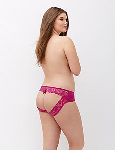 Open back crotchless hipster panty