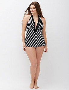 Chevron one-piece swim suit with plunge bra