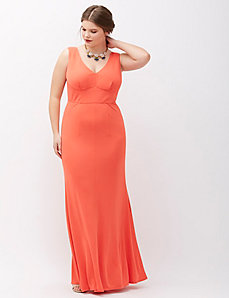 Sleeveless V-Neck Gown by ABS Allen Schwartz