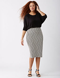Zig-Zag High-Waist Midi Pencil Skirt
