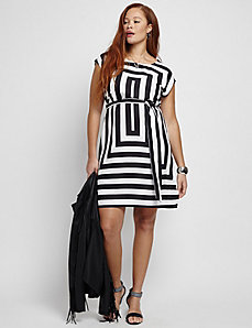 Square Print Sheath Dress