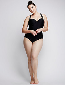 Strappy Swim One Piece with Built-In Bandeau Bra
