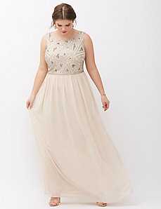 Sleeveless Beaded Bodice Gown by Adrianna Papell
