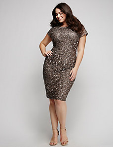 Sequin Cap-Sleeve Dress by Adrianna Papell
