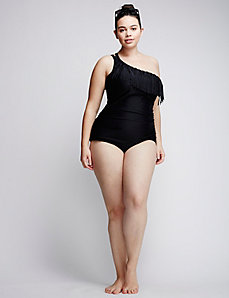 One-Shoulder Swim One Piece with No-Wire Bra