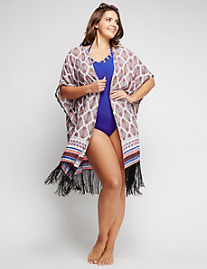 Fringe-Hem Swim Cover-Up