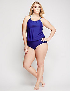 Blouson Swim Tank with Built-In No-Wire Bra