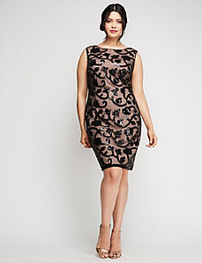 Sequin & Mesh Sheath Dress by Adrianna Papell