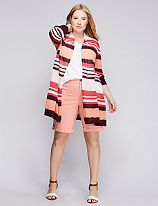 Striped Drape-Front Cardigan