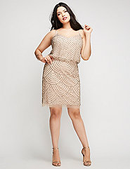 Short Beaded Cap Sleeve Dress by Adrianna Papell