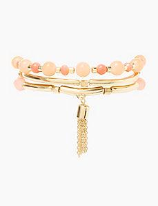 3-Row Beaded Coral Stretch Bracelet