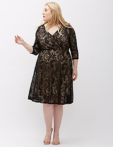 Surplice Lace Fit & Flare Dress