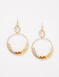 Beaded Diamond-Cut Hoop Drop Earrings