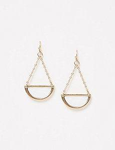 Semi-Circle White Stone Drop Earrings