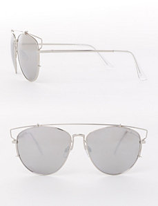 Mirrored Aviator Sunglasses with Open Frame