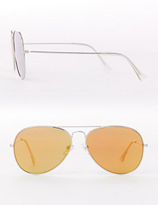 Mirrored Flat-Front Aviator Sunglasses