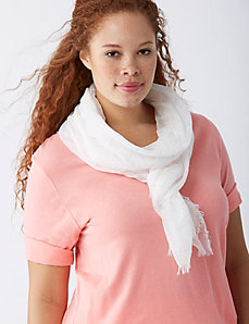 White with Pink Metallic Scarf