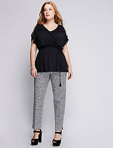 Elastic Waist Cold-Shoulder Top