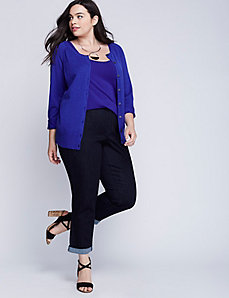 Button-Sleeve Crew-Neck Cardigan