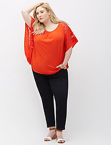 Lace Inset Drama Top