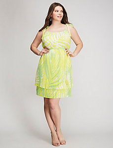 Tie-Shoulder Pleated Dress