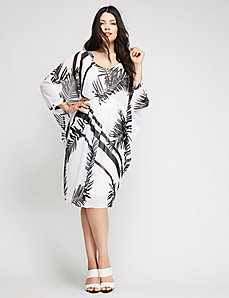 Drama Sleeve Palm Print Dress