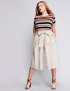 Paper-Bag Waist Linen Culotte