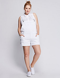White Denim Short Overalls