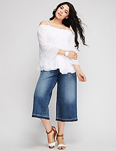 Off-the-Shoulder Textured Dot Top