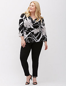 Drape-Front 3/4 Sleeve Top