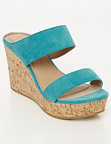 2-Band Cork Wedge Sandal