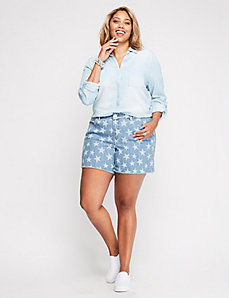 Star Printed Denim Weekend Short