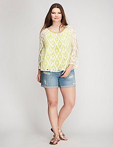 Lace Overlay Peasant Top