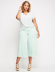 Released-Hem Wide Leg Denim Crop