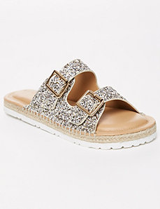 Glitter Espadrille Slide Sandal