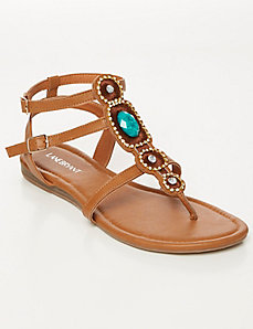 Jeweled Sliver Wedge T-Strap Sandal