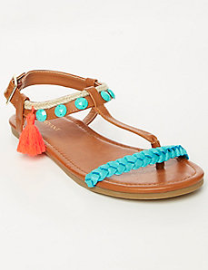 Braided T-Strap Sandal with Tassel
