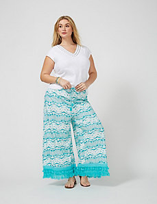 Palazzo Pant with Crochet Trim