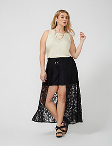 Shorts with Lace Split Maxi