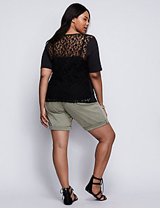 Lace-Back Modest Sleeve Tee