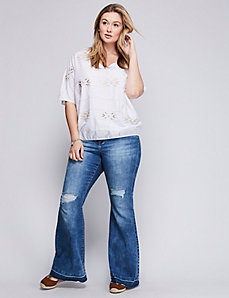 Embroidered Wedge Drama Top