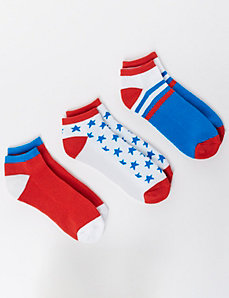 Red White & Blue Sport Socks 3-Pack