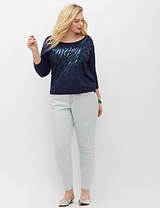 Sequin Banded-Bottom Tee