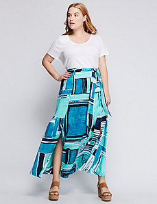 A-Line Belted Maxi Skirt