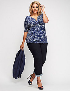 Center-Ruched Modest Sleeve Top