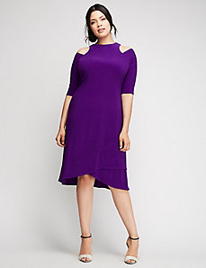 Racy Faux Wrap Dress by Kiyonna