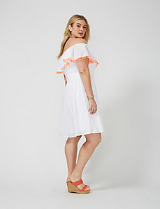 Off-the-shoulder dress with pompoms